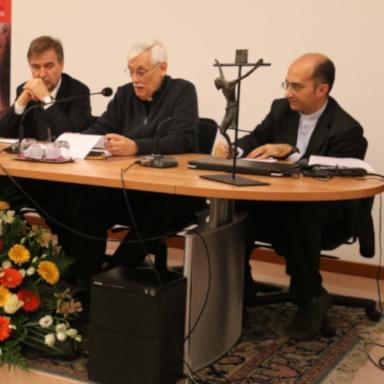 Jesuit fathers Arturo Sosa and Luciano Larivera at a cultural event in the Veritas Center of Trieste