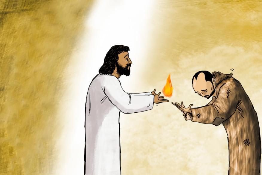 Illustrazione di Gesù che porge una lingua di fuoco a Ignazio di Loyola, fondatore dei gesuiti